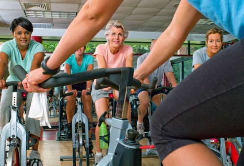 getty_rf_mature_senior_woman_in_bike_class