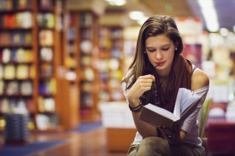 girl in a library