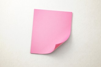 Realistic Pink 3D Sticky Note on A Paper