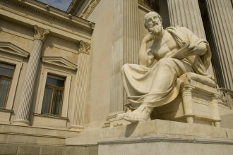 Statue of sitting philosopher